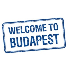 Welcome to Budapest blue grunge square stamp vector