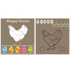 White chicken and easter eggs vector