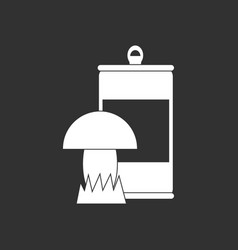 White icon on black background canned and mushroom vector