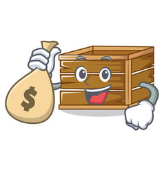 With money bag crate character cartoon style vector