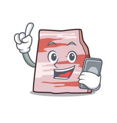 With phone pork lard character cartoon vector