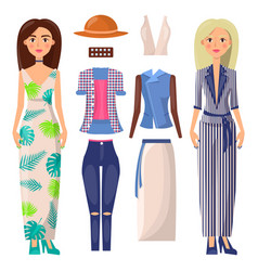 women and clothing set banner vector image