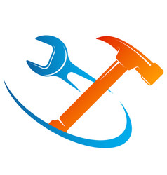 Wrench and hammer symbol vector