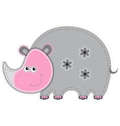cute cartoon isolated fabric animal rhino vector image vector image