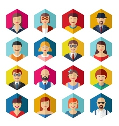 Flat avatar icons faces people symbols signs vector image vector image