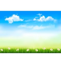 Summer nature background with green grass and sky vector