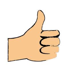 cartoon man hand like gesture thumb up vector image