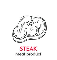 hand drawn steak icon vector image