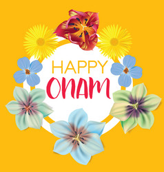 happy onam flower greetings for south indian vector image