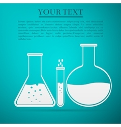 Laboratory glassware flat icon on blue background vector image