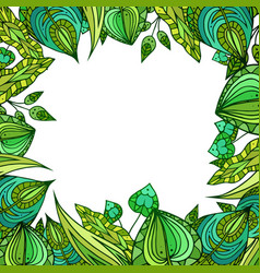 square frame with patterned doodle green leaves vector image vector image