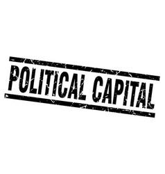 Square grunge black political capital stamp vector