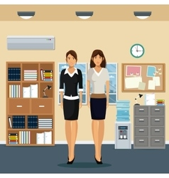 women office work standing cabinet file cooler vector image