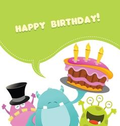 Birthday monsters card vector