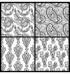 black and white ornate seamless flower paisley vector image