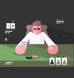 player in cards with poker face vector image