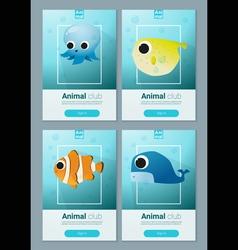 Set of sea animal templates for web design 2 vector image
