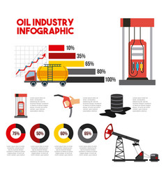 oil industry infographic transport station gas vector image