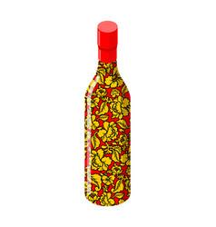 russian vodka bottle khokhloma painting national vector image vector image