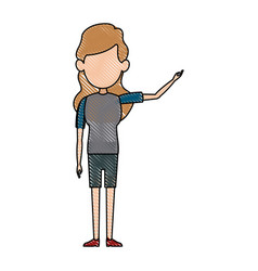 Standing woman drawing female young vector