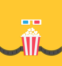 3d paper red blue glasses and popcorn box film vector image