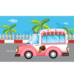 A pink ice cream bus vector image