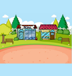 A simple rural shop scene vector