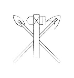 Antique arrows and ax isolated icon vector