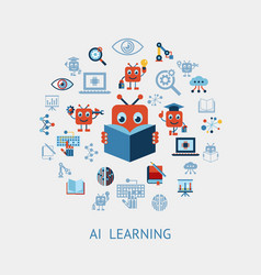 artificial intelligence self learning icon set vector image