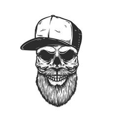 Bearded skull in baseball cap in engraving style vector