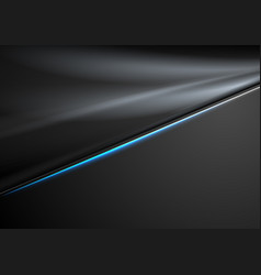 black abstract smooth background with neon line vector image