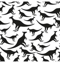 black animal kangaroo seamless pattern eps10 vector image
