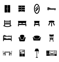 black furniture icon set vector image