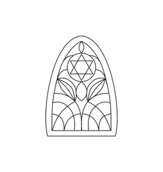Black silhouette stained glass window jewish six vector