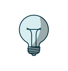 Blue shading silhouette of bulb light icon vector