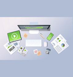 business analytics data optimization concept top vector image
