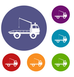Car towing truck icons set vector