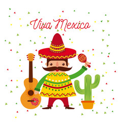 Cartoon mexican man in a sombrero and poncho and vector