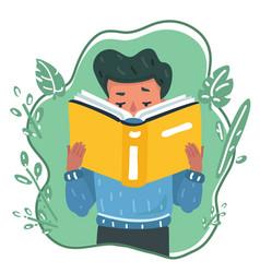 cartoon young boy reading book or vector image