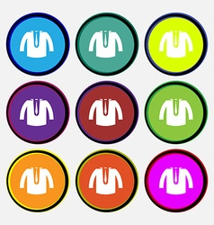 Casual jacket icon sign Nine multi colored round vector