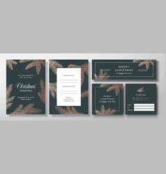 Christmas invitation cards posters vector