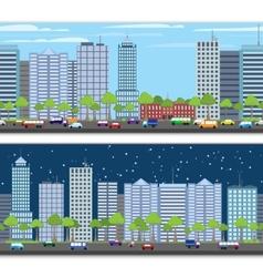Cityscape tileable border vector image