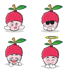 Collection set of lychee cartoon character style vector