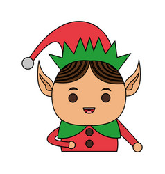 Color image cartoon half body christmas elf vector