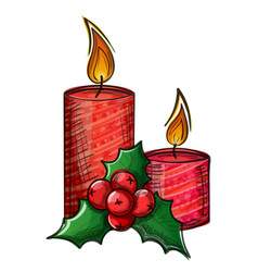 colorful sketch of christmas candle and holly vector image
