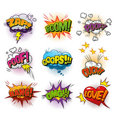 comic explosive dynamic speech bubbles collection vector image