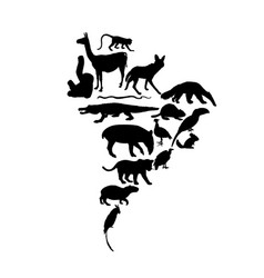 Continent map southern america animals silhouette vector