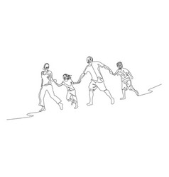 continuous one line family walking holding the vector image