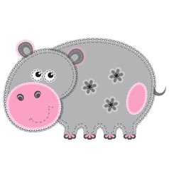 cute cartoon isolated fabric animal hippo vector image