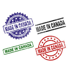 damaged textured made in canada seal stamps vector image